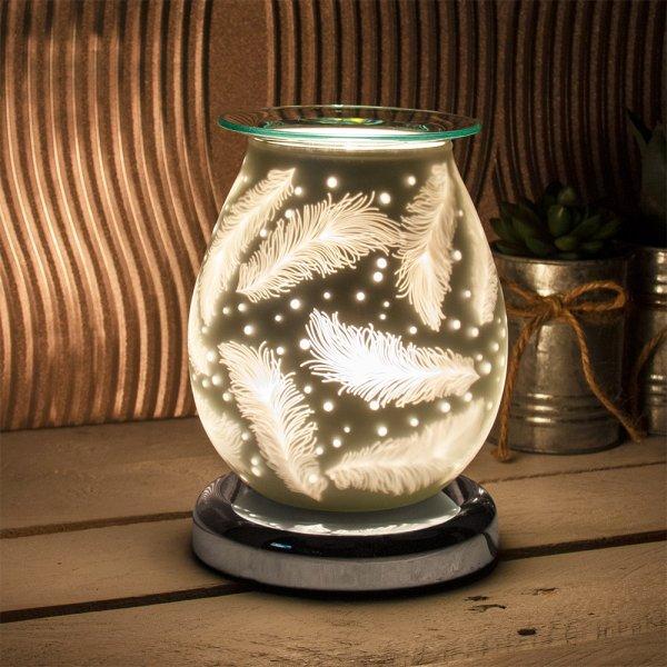 SATIN WHT FEATHERS AROMA LAMP