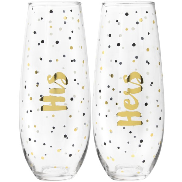 GOLD STEMLESS FLUTES HIS&HERS