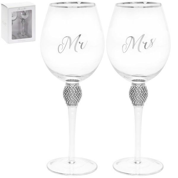 MR&MRS DIAMANTE WINE GLSS SILV