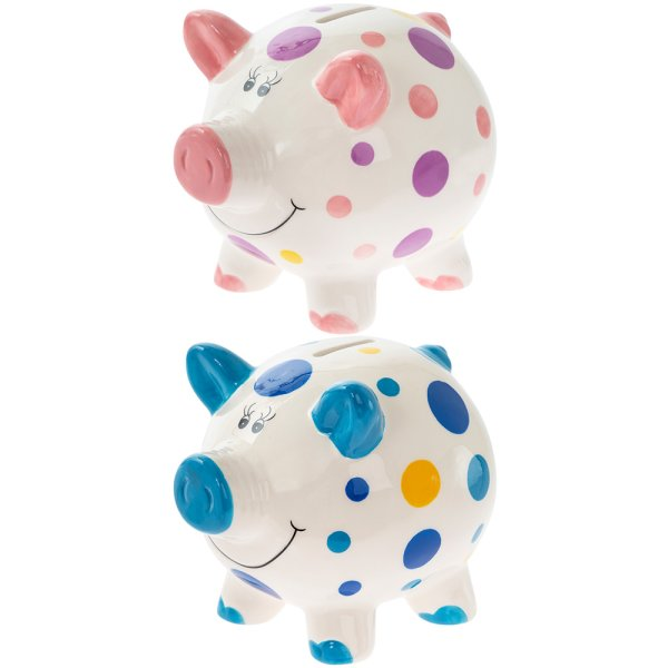 PIGGY MONEY BOX LARGE 2 ASST