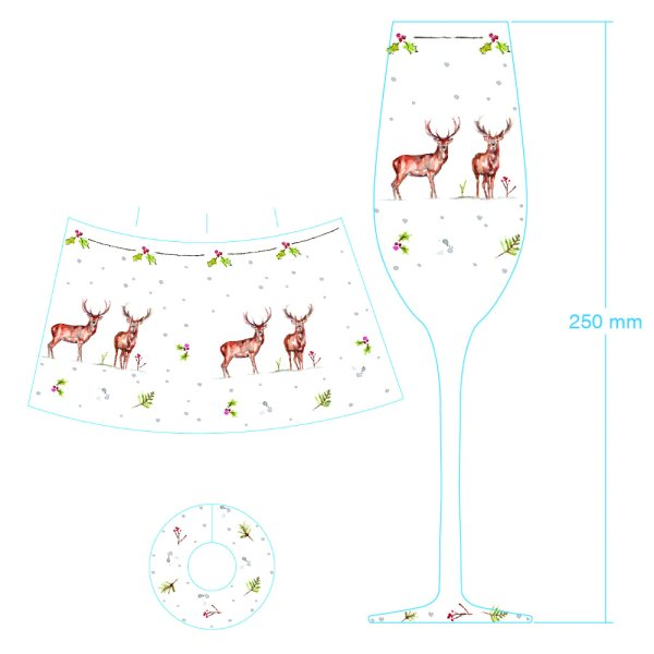 WINTER STAG CHAMPAGNE FLUTE