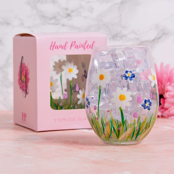 DAINTY DAISIES STEMLESS GLASS