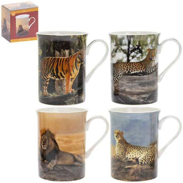SAFARI BIG CATS MUG 4 ASST