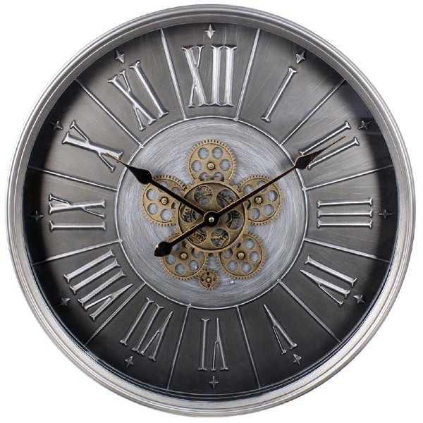 SILVER MOVING COG CLOCK 60CM