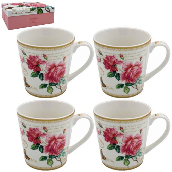 REDOUTE ROSE MUGS SET OF 4