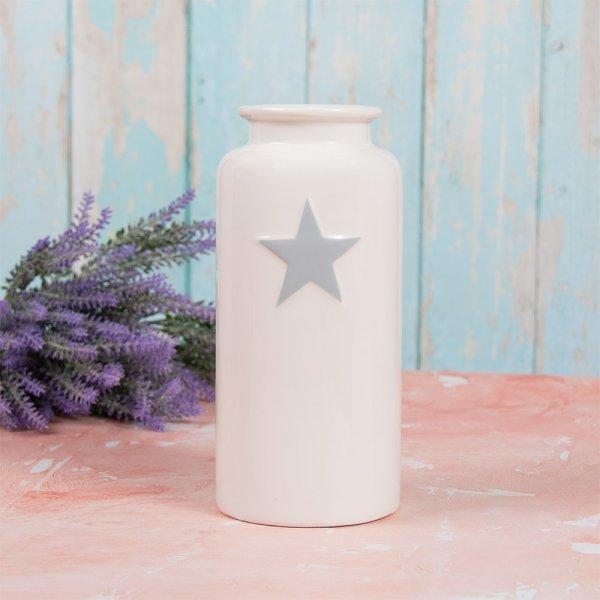 WHITE & GREY STAR VASE S
