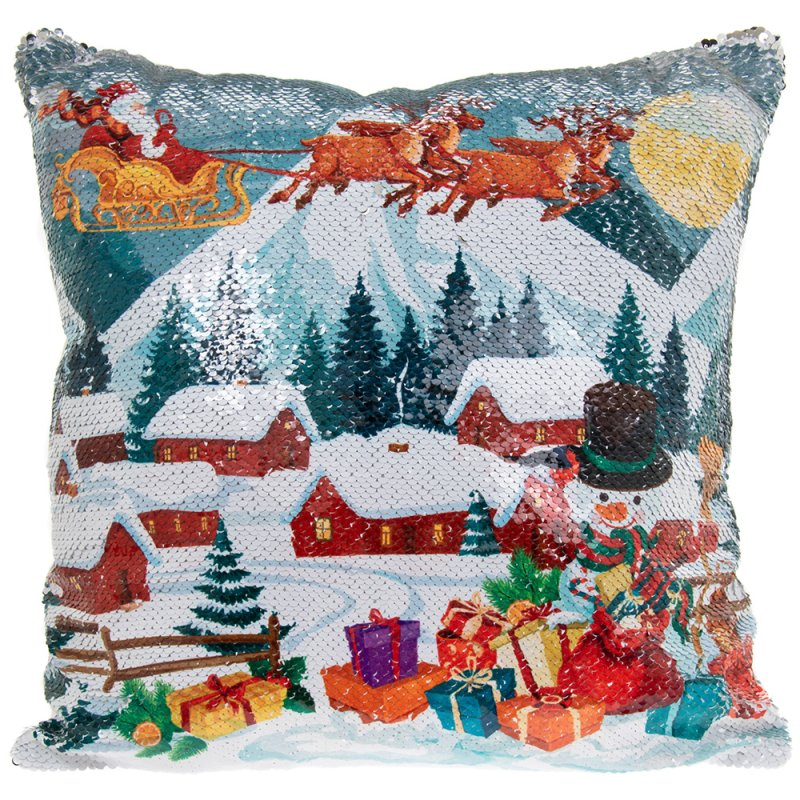 XMAS SEQUIN CUSHION SNOWY