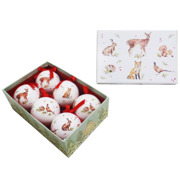 WINTER FOREST BAUBLES 6 SET