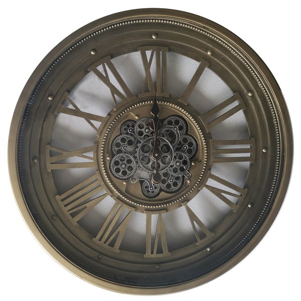 GOLD MOVING COG CLOCK 80CM