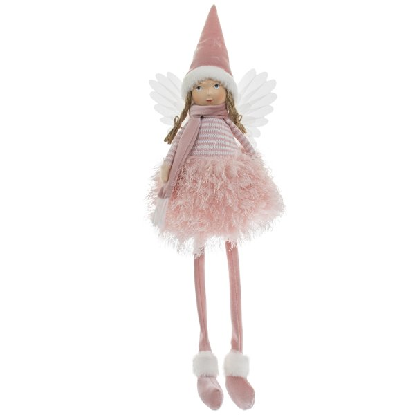 ANGEL WITH HAT SITTING PINK