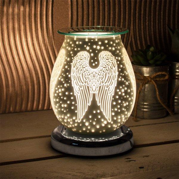 SATIN WHT WINGS AROMA LAMP