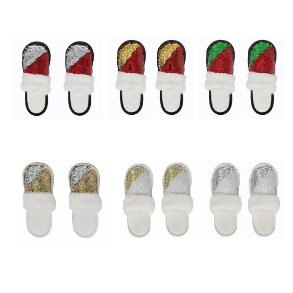 SEQUI SLIPPER WITH WHT FUR 6AS
