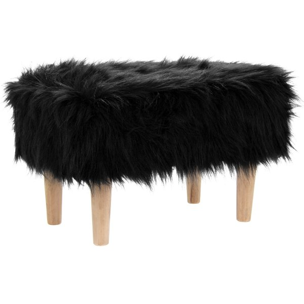 BLACK FURRY STOOL RECTANGLE