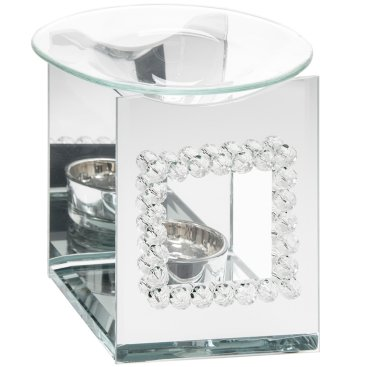 MIRROR DIAMANTE CANDLE PLATES OIL BURNER