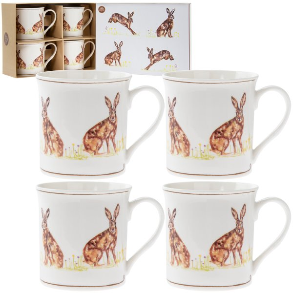HARE MUGS SET 0F 4
