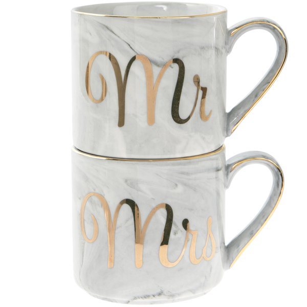 MARBLE& GOLD MR&MRS STACK MUGS