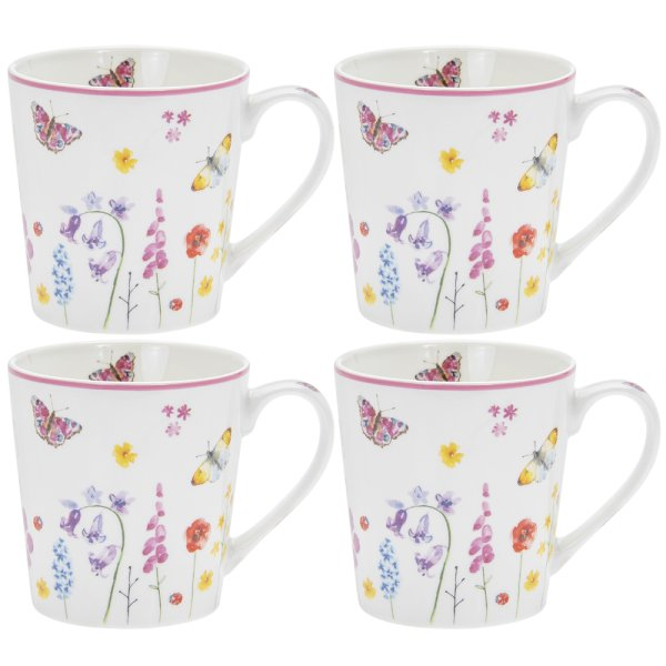 BUTTERFLY GARDEN MUGS 4SET