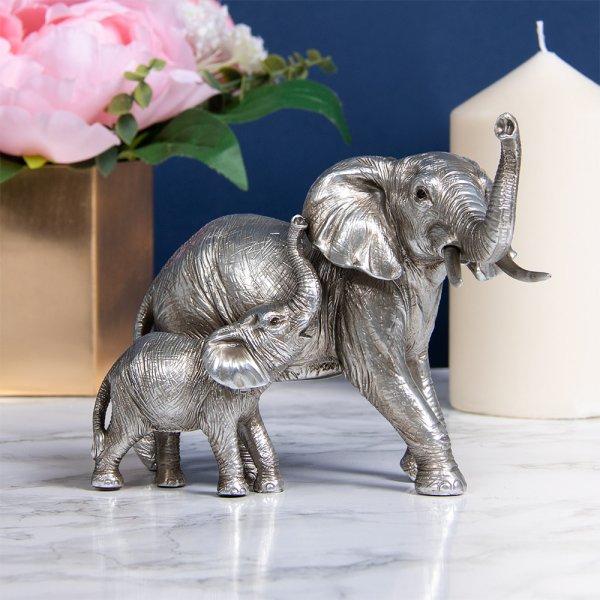 SILVER ELEPHANT & CALF