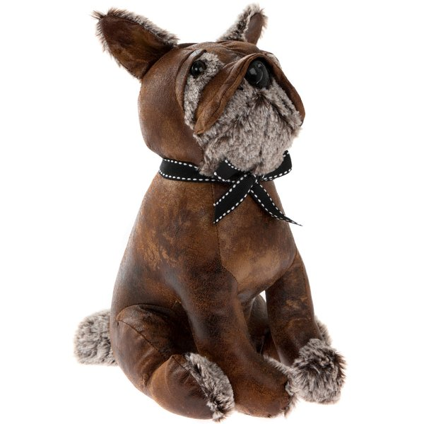 FAUX LEATHER BULLDOG DOORSTOP