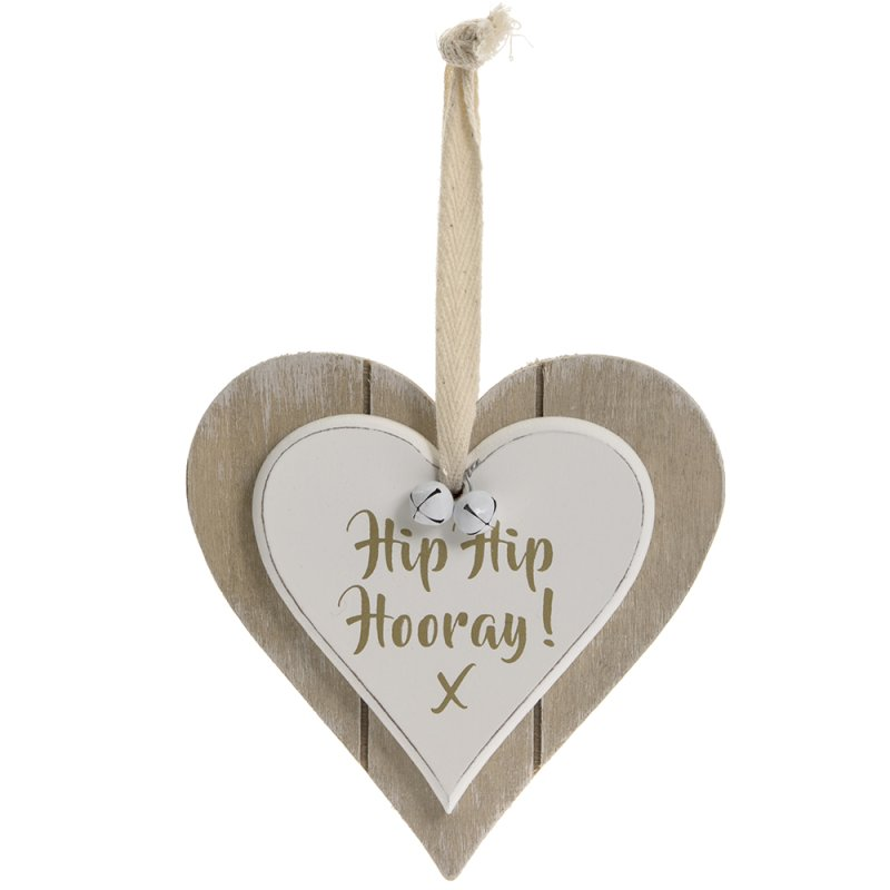 DBL HEART PLQ HIP HIP HORRAY