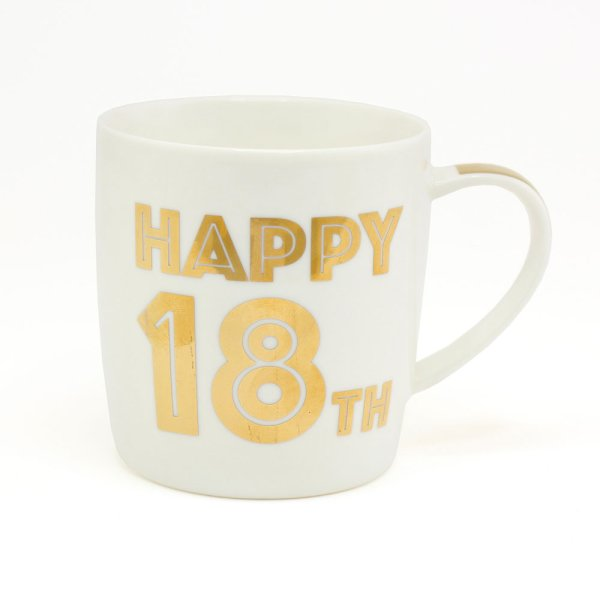 GOLD HAPPY 18TH BIRTHDAY MUG