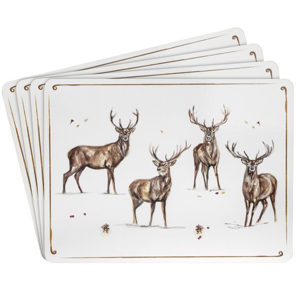WINTER STAGS PLACEMATS 4 SET