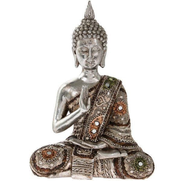 """SILVER ART THAI BUDDHA 8.5"""""""
