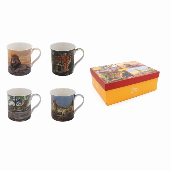 SAFARI BIG CATS MUGS SET OF 4