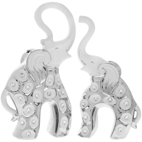 WHITE & SILVER ELEPHANT PAIR