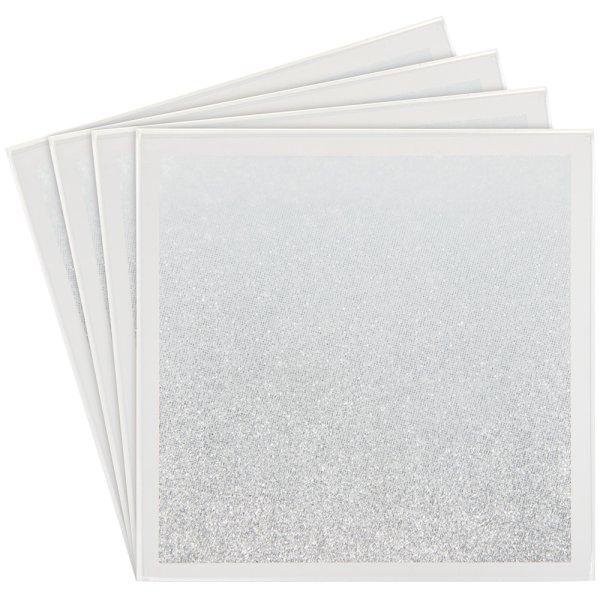 WHITE & SILVE GLIT COASTERS S4
