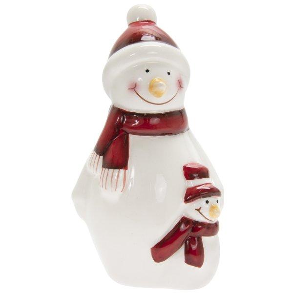 SNOWMAN WHITE & RED SML