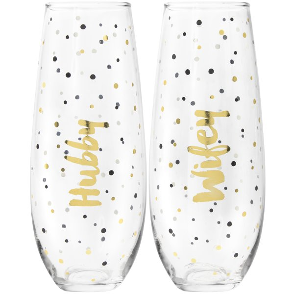 GLD STEMLESS FLUTES HUBBY&WIFE
