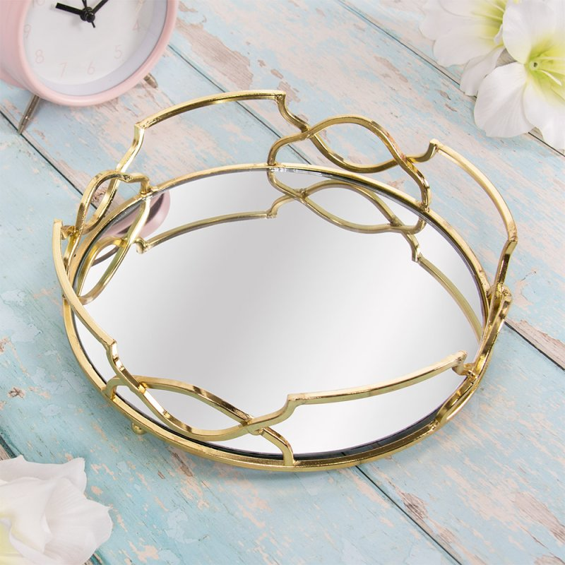 GOLD CRYSTAL TRAY ROUND 21 CM
