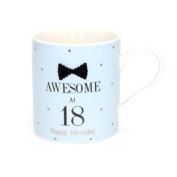 MAD DOTS BLK TIE 18TH MUG