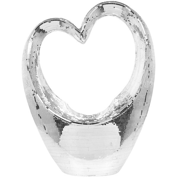 SILVER MIRROR HEART SCULPTURE