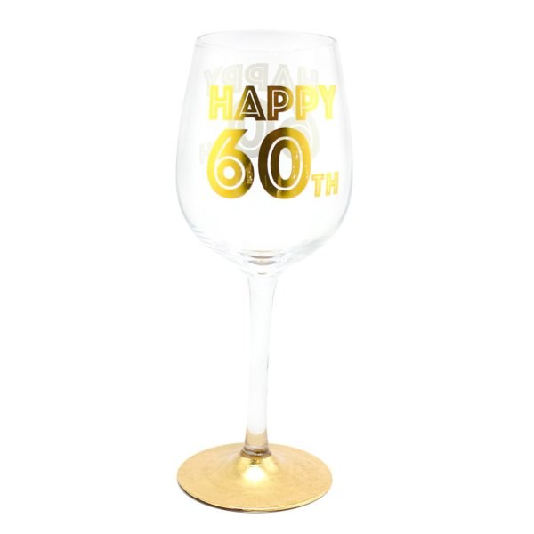 HAPPY 60TH WINE GLASS
