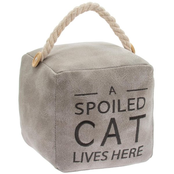 GREY CAT DOORSTOP