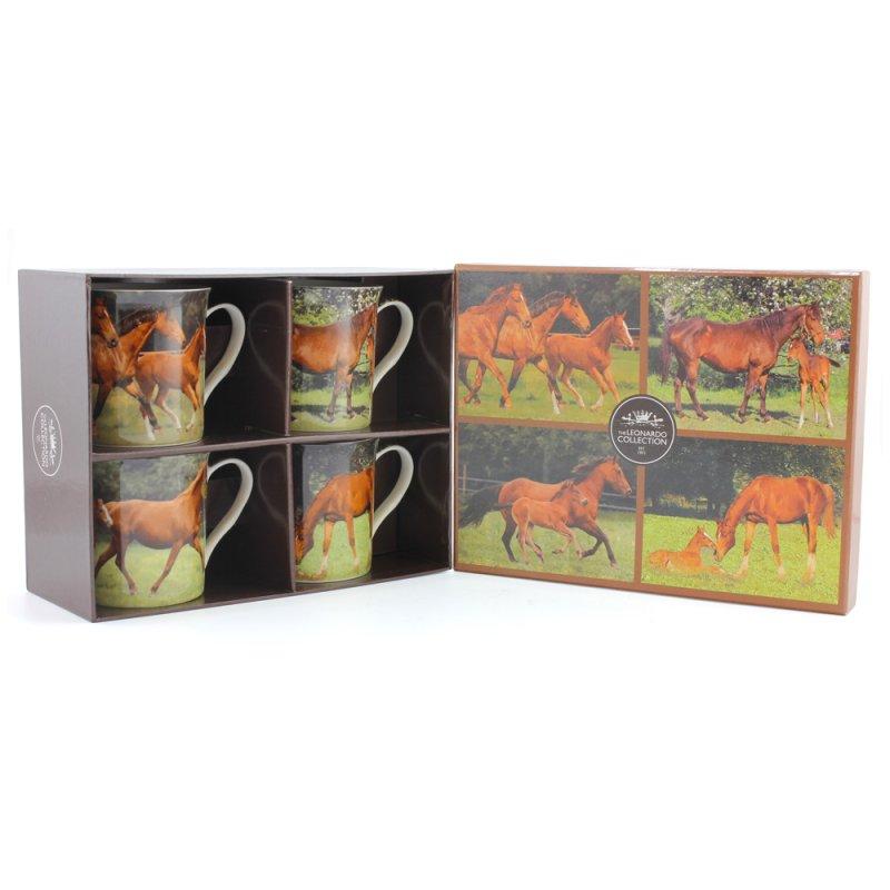 HORSES MUGS SET OF 4