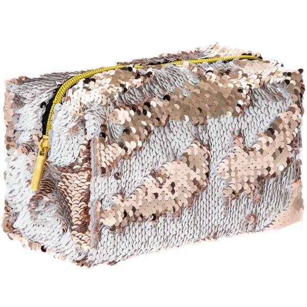 SEQUIN COSMETIC BAG GOLD&CREAM