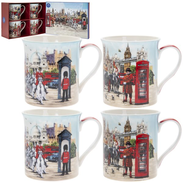 LONDON COLLAGE MUGS S/4
