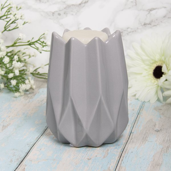 GEOMETRIC GREY WAX/OIL WARMER