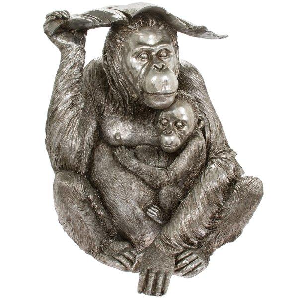 SILVER ART ORANGUTAN WITH BABY