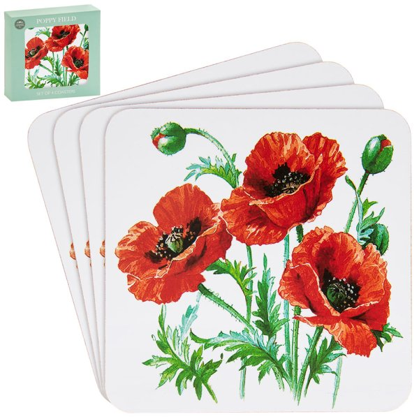 POPPY COASTERS SET 4
