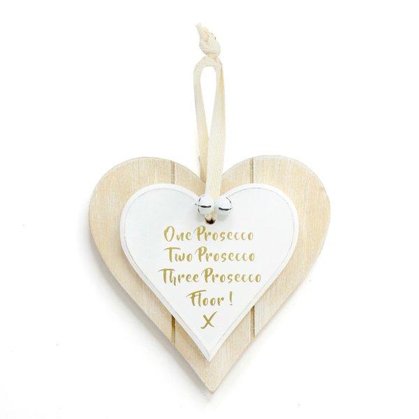 DBL HEART PLQ 1,2,3 PROSECCO