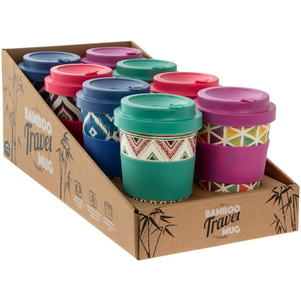 BAMBOO TRAVEL MUG 4 ASST 350ML