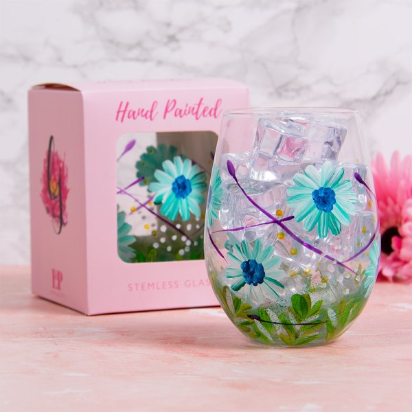 BLUE GERBERA STEMLESS GLASS