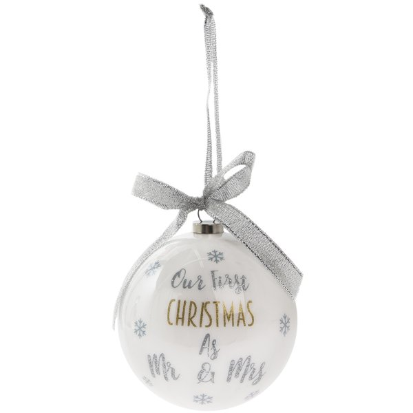 OUR 1ST XMAS MR&MRS SML BAUBLE