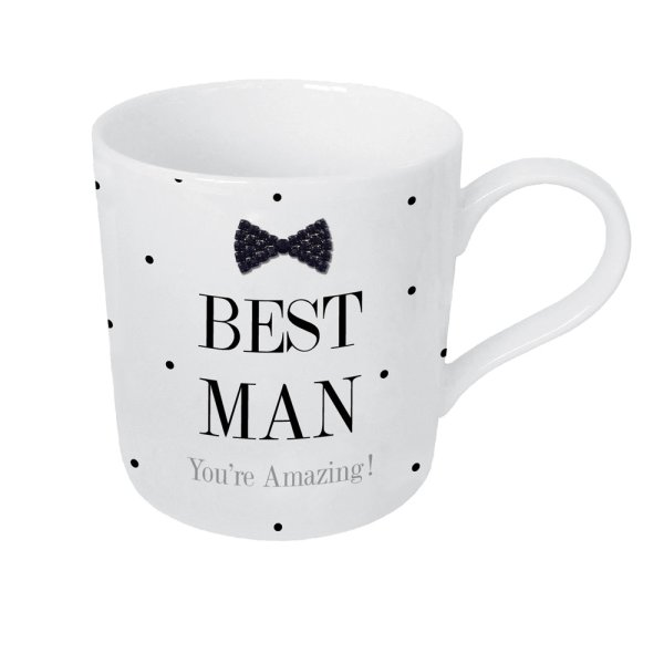 MAD DOTS BLK TIE BEST MAN MUG
