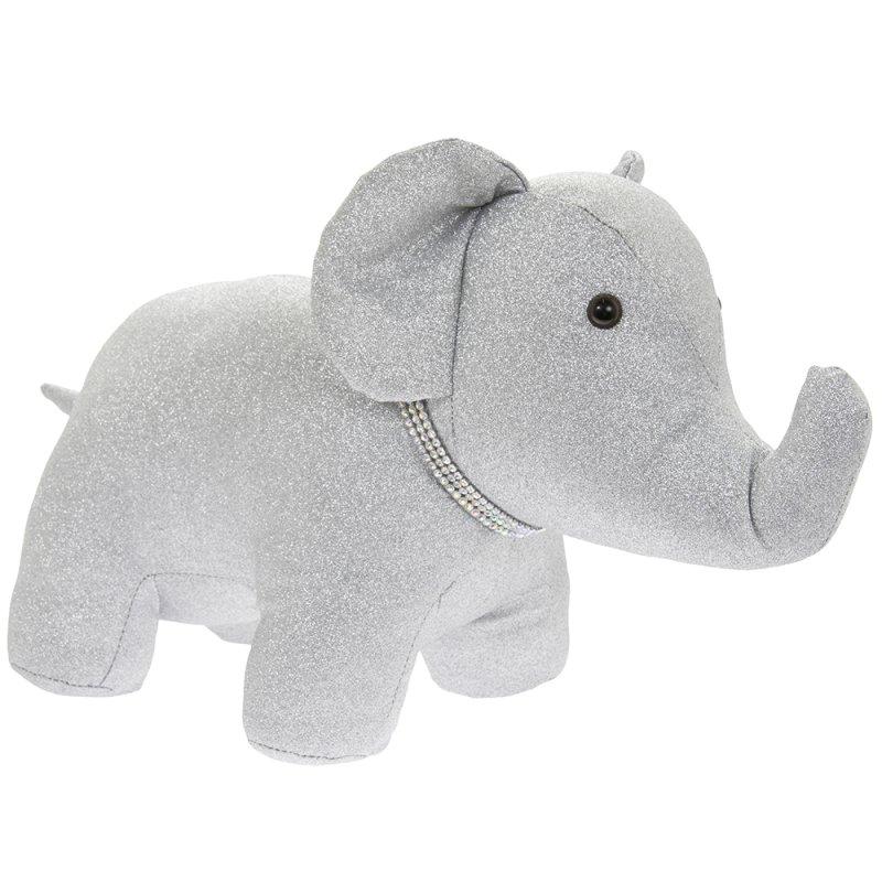 SILVER BLING ELEPHANT DOORSTOP