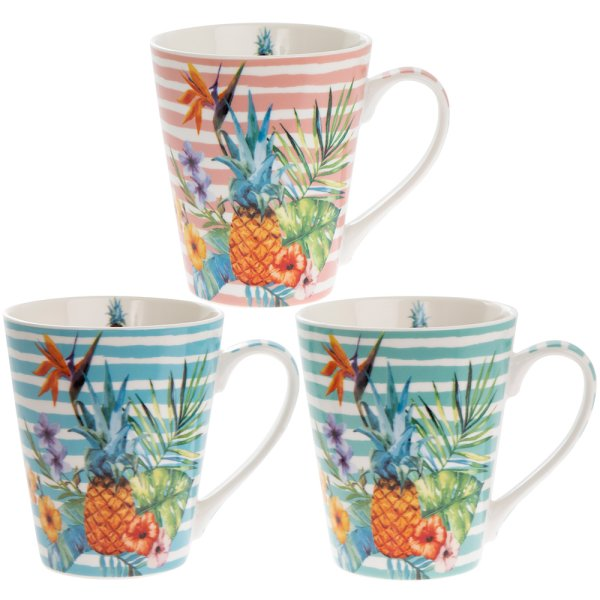 EXOTIC PINEAPPLE MUG 3 ASST